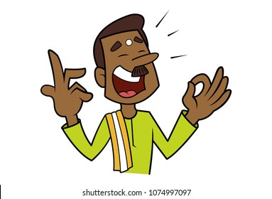 vector illustration of south Indian man singing.