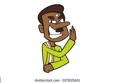 a vector illustration of a south indian man doing karate