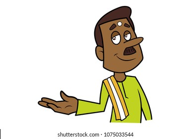 A vector illustration of a south Indian man talking .