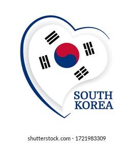 Vector Illustration. South Korea flag in heart shaped