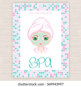 vector illustration of spa party invitation with colorful mosaic frame with woman with head wrapped towel and cosmetic facial mask