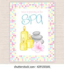 vector illustration of spa party invitation with colorful mosaic frame with massage stones, candles and orchid.
