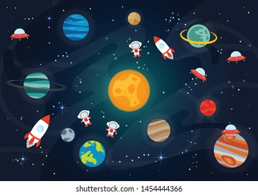 Vector Illustration Of Space. Space flat vector background with rocket, spaceship, moon, Jupiter, satellite, astronaut, planets and stars.