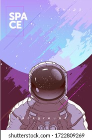 Vector illustration of space and planets. Astronaut and planet in the background