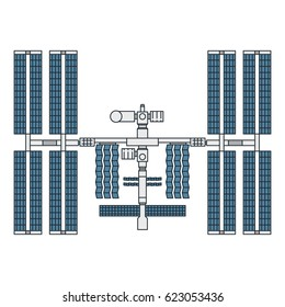 Vector illustration of a space station with solar arrays on white background. Space topic.