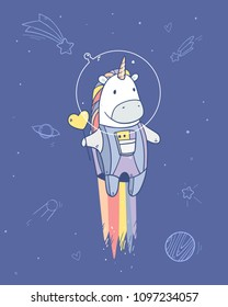 Vector illustration with space unicorn with tasty heart shape lollipop in astronaut costume flying to the stars.