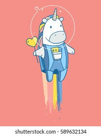Vector illustration with space unicorn with tasty red heart shape lollipop in astronaut costume flying to the stars