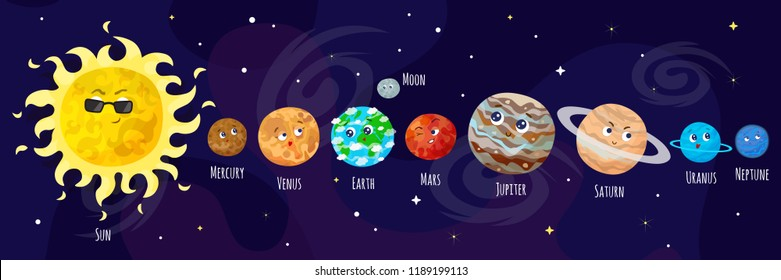 Vector illustration of space, universe. Cute cartoon planets.