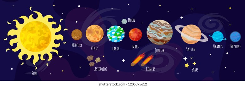 Vector illustration of space, universe. Cute cartoon planets, asteroids, comet, rockets. Kids illustration.