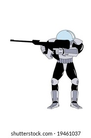 vector illustration of space warrior armed by rifle