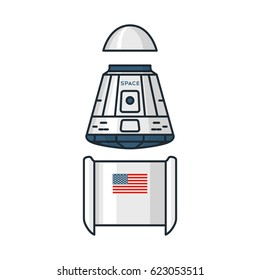 Vector illustration of spacecraft modules on white background. Space topic.