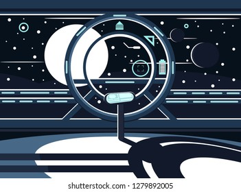 Vector illustration of a spaceship. Space exploration. The control panel of the space station. Future technology. Outer space and many planets and stars.
