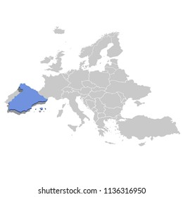 Vector illustration of Spain in blue on the the grey model of Europe map.