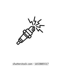 Vector illustration, spark plug icon. Line design template