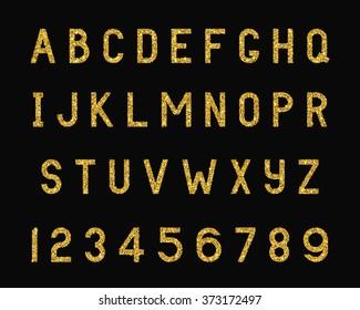 Vector Illustration of Sparkle Font for typography Design, Website, Background, Banner. Alphabet Element Template. Bright Gold Letter