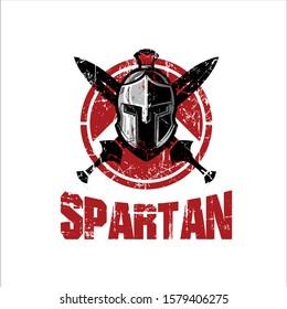 vector illustration Spartan helmet with a circle shield and sword full of blood streaks. Spartan helmet scratch. emblem logo symbol spartan background.