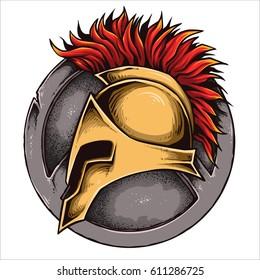 vector illustration of spartan helmet and shield