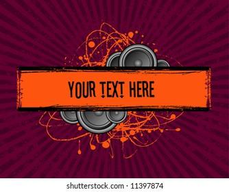 vector illustration of speakers set behind a grunge text banner