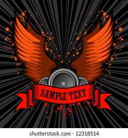 vector illustration of speakers and wings set behind a grunge text banner