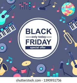 Vector Illustration. Special sale poster with musical instruments on grey blue background. BLACK FRIDAY Backgroud for different designs: card, poster, sales, news for sale.