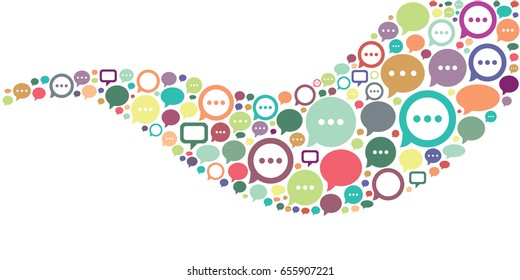 vector illustration of speech boxes in wave design for virtual communication concepts