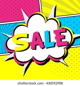 """Vector illustration of speech bubble. Comic expression cloud. Funny title """"SALE"""""""
