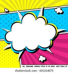 Vector illustration of speech bubble. Comic expression cloud.
