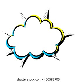 Vector illustration of speech bubble. Isolated comic expression cloud.