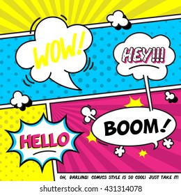 """Vector illustration of speech bubbles. Comic expression cloud.Funny titles """"WOW, """"Hey!"""", """"BOOM!"""", """"Hello' with background"""