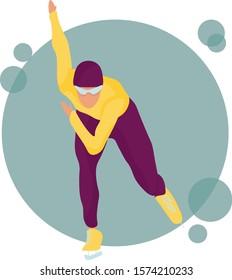 Vector illustration of speed skater skating on ice. Winter sports, Flat stile, design for banner, poster