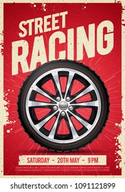 Vector Illustration speed street racing poster flyer event template with cool car wheel