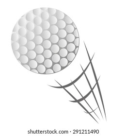 Vector illustration of Speeding Golf Ball Motion in cartoon style isolated on white