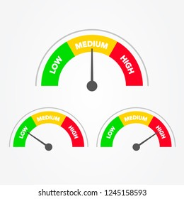Vector Illustration Speedometer Scale from green to red with arrow and text low, medium and high