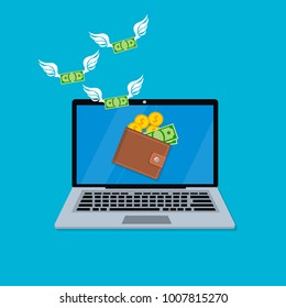 Vector illustration of spending money from laptop. Mobile purchases, Great design for in-app purchases or ads.