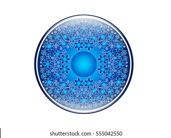 Vector illustration of sphere decorated with floral pattern for your design.