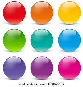 Vector illustration of sphere icons on white background