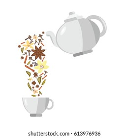 vector illustration of spices flowing from teapot for tea flavors concepts