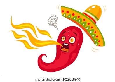 Vector illustration of a spicy chili pepper with flame. Cartoon red chili with hat sombrero for mexican food.