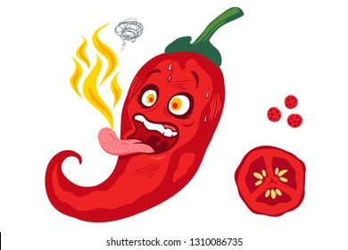Vector illustration of a spicy chilli pepper with flame on tongue. Cartoon red chili with fire on tongue for mexican or thai food.