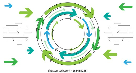 vector illustration of spinning arrows for dynamical concept or reciprocal connection