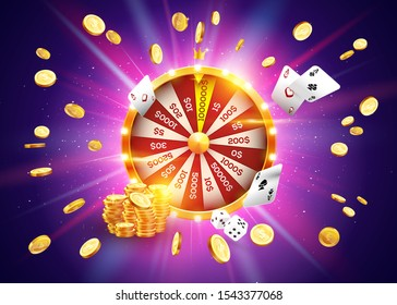 Vector illustration spinning fortune wheel on explosion of gold coins background and with light spotlights. Realistic 3d lucky roulette.
