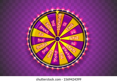 Vector illustration spinning fortune wheel on transparent background. Realistic 3d lucky roulette. Online casino