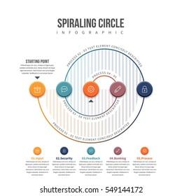 Vector illustration of spiraling circle infographic design element.