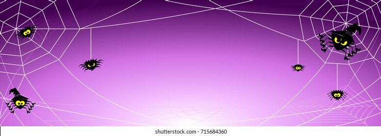 vector illustration of a spooky halloween background with spiders in net