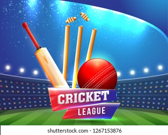 Vector illustration of sport background for cricket championship poster or banner design.