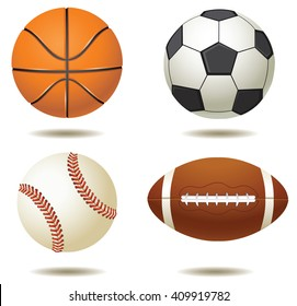vector illustration of sport balls silhouettes isolated