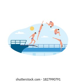 Vector illustration of sport championship. Standing on diving board, preparing to beautiful jump and dive. Professional athlete. For sport competition series