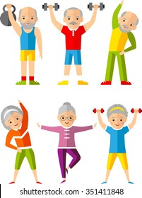 Vector illustration sport healthy and leisure old people activities   Lifestyle icons set with adults people playing sports, yoga and fitness