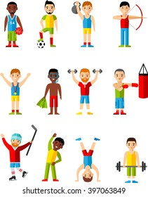 Vector illustration sport healthy leisure man. Lifestyle icons set people playing sports, sport games, workout.  Set for idea advertise Health.
