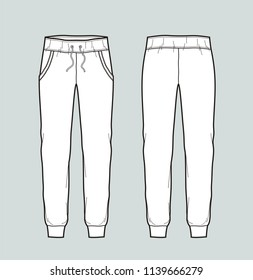Vector illustration of sport pants. Front and back